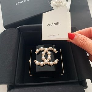 Authentic Chanel Resin, Glass Pearls cuff